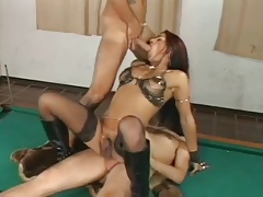 Brown-haired T-girl Fucked..